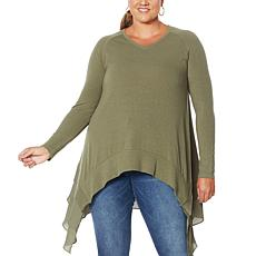 DG2 by Diane Gilman Ribbed Knit Sweater and Chiffon Top