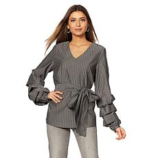 DG2 by Diane Gilman Ruffle-Sleeve Blouse with Self Tie