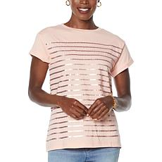 DG2 by Diane Gilman Sequin Striped Tee