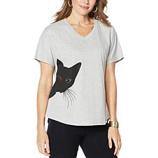 DG2 by Diane Gilman Sequined Kitty Tee