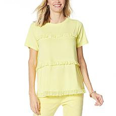 DG2 by Diane Gilman Short-Sleeve Tiered Crochet Ruffle Top