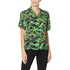 DG2 by Diane Gilman Silk-Blend Printed Camp Shirt