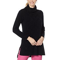 DG2 by Diane Gilman Slit Side Cable Knit Tunic Sweater
