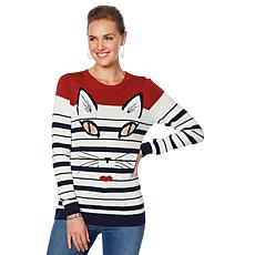 DG2 by Diane Gilman Striped Kitty Sweater