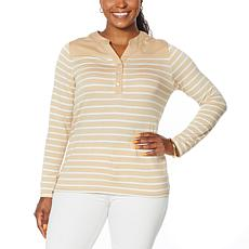 DG2 by Diane Gilman Striped Knit and SoftCell Combo Henley Top