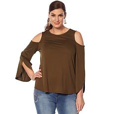DG2 by Diane Gilman Tulip-Sleeve Cold-Shoulder  Top