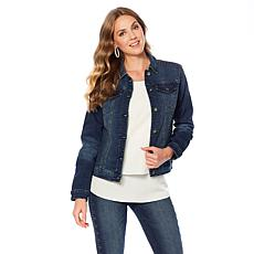 DG2 by Diane Gilman Virtual Stretch Studded Denim Jacket
