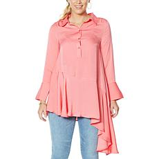 DG2 by Diane Gilman Washed Charmeuse Asymmetric Shirt