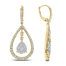 Diamond Couture 14K Gold 1.5ctw White Diamond Pear-Shaped Drop Earr...