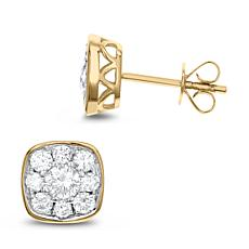 Diamond Couture 14K Gold 1ctw White Diamond Square Stud Earrings