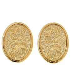 Dieci 10K Gold Flower Cameo Oval Earrings