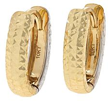 Dieci 10K Gold Two-Tone Diamond-Cut Reversible Hoop Earrings