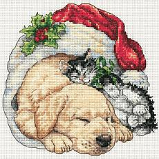 Dimensions Cross-Stitch Kit - Christmas Morning Pets