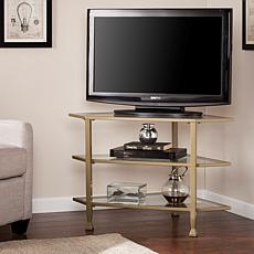 Dina Metal/Glass Corner TV Stand - Matte Khaki