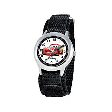 Disney Cars Kid's Silvertone Black Strap Time-Teacher Watch