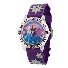 Disney Frozen 2 Elsa and Anna Girls Clear Time Teacher 3-D Strap Watch