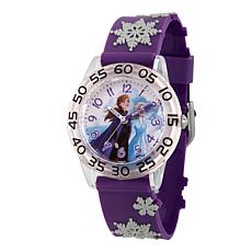 Disney Frozen 2 Elsa and Anna Kids' Clear Watch with Purple 3-D Strap