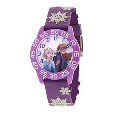 Disney Frozen 2 Elsa and Anna Kids' Purple Watch with Purple 3-D Strap