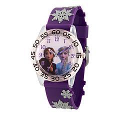 Disney Frozen 2 Elsa and Anna Kids' Time Teacher Watch w/ Purple Strap