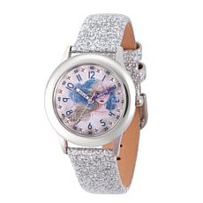 Disney Frozen 2 Elsa Kids' Stainless Steel White Leather Glitter Watch