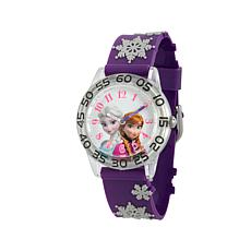Disney Frozen Kid's White Dial Purple Strap Time-Teacher Watch