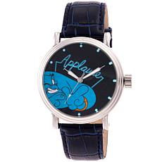 Disney Genie Men's Silver Vintage Watch with Blue Croco Leather Strap