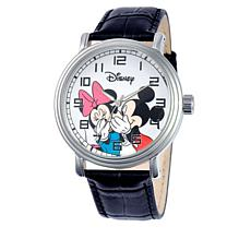 "Disney Mickey & Minnie ""Secrets"" Black Leather Watch"