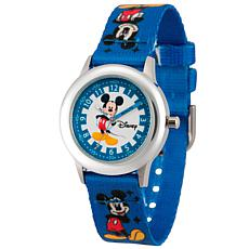Disney Mickey Mouse Kid's Time Teacher Watch w/ Printed Blue Strap