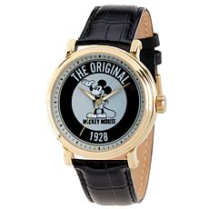 Disney Mickey Mouse Men's Gold Vintage Watch with Black Leather Strap