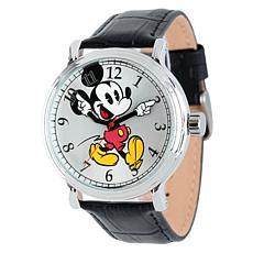 Disney Mickey Mouse Men's Silver Vintage Watch w/ Black Leather Strap