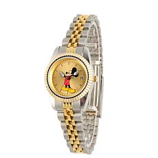 Disney Mickey Mouse Womens Alloy Silver & Gold Watch w/ Steel Bracelet