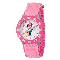 Disney Minnie Mouse Kids Pink Bezel Time Teacher Watch w/ Nylon Strap