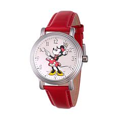 Disney Minnie Mouse Women's Vintage Alloy Watch w/ Red Leather Strap