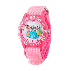Disney Princess Kids Pink Plastic Time Teacher Watch w/ Nylon Strap