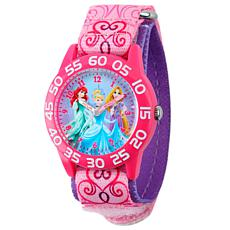 Disney Princess Kids Pink Time Teacher Watch w/ Printed Nylon Strap