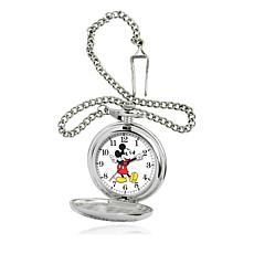 Disney Silvertone Mickey Mouse Moving Hands Pocket Watch
