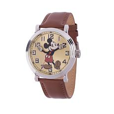 Disney Vintage-Style Mickey Mouse Brown Leather Strap Watch