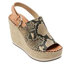 Dolce Vita Shan Snake-Print Leather Espadrille Wedge Sandal