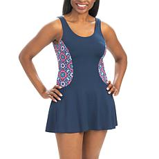 Dolfin Aquashape Colorblock Mosaic-Print Swimdress