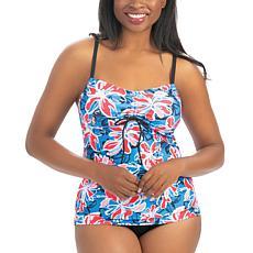 Dolfin Aquashape Wildflowers Print Tie-Front Tankini Top