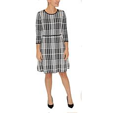 Donna Ricco 3/4 Sleeve Plaid A-Line Sweater Dress