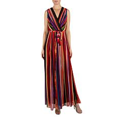 Donna Ricco Faux Wrap Printed Maxi Dress with Tie Waist