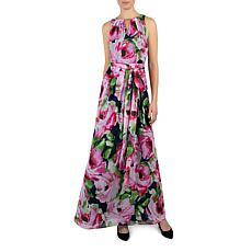 Donna Ricco Keyhole Neck Floral Printed Chiffon Sleeveless Maxi Dress