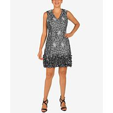 Donna Ricco Metallic Lace V-Neck Dress with Ruffle Hem