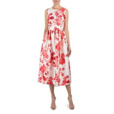 Donna Ricco Round Neck Midi Printed Mikado Fit and Flare Dress