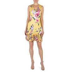 Donna Ricco Sleeveless Cupcake Hem Dress - Yellow Floral