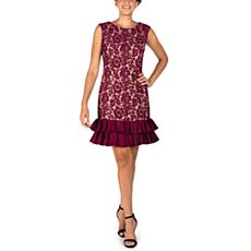 Donna Ricco Sleeveless Lace & Scuba Dress with Ruffle Hem