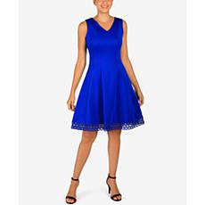Donna Ricco Sleeveless Scuba Dress with Lace Trim