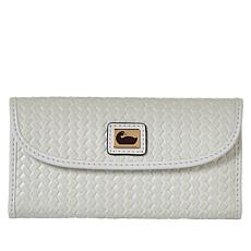 Dooney & Bourke Woven Leather Continental Wallet - White