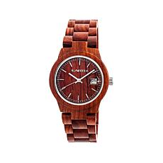 Earth Wood Biscayne Reddish Wood Dial Bracelet Watch